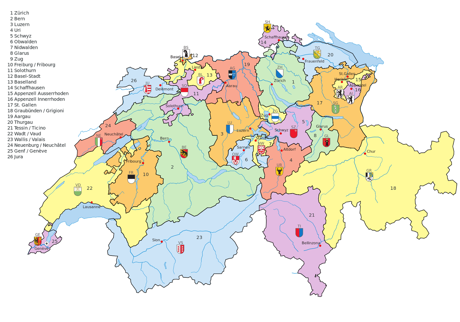 Cantons of the Swiss Confederacy