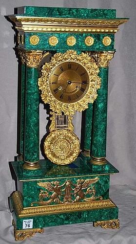 Antique Clocks : Tiffany Malachite Portico Clock