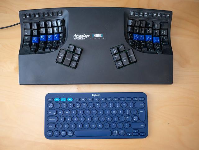 Kinesis Advantage keyboard--size comparison with Logitech K380