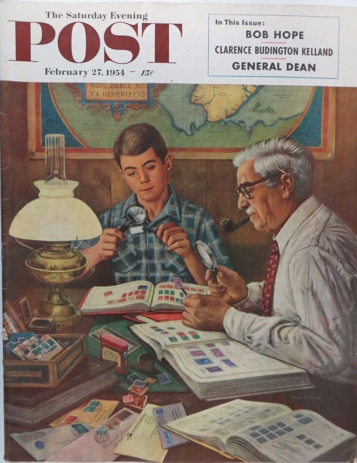 Stamp collecting was portrayed on the front cover of the Saturday Evening Post, February 27, 1954 edition, by artist Stevan Dohanos of Ohio. Dohanos grew up as a great admirer of Norman Rockwell, going so far as to copy his Saturday Evening Post cover illustrations in crayon that he sold to friends, relatives, and co-workers. His first Post cover, the March 7, 1942 issue, was a well-received wartime image of air raid searchlights from an artillery battery. He would go on to design stamps, including NATO stamps in 1959 and a John F. Kennedy commemorative in 1967.