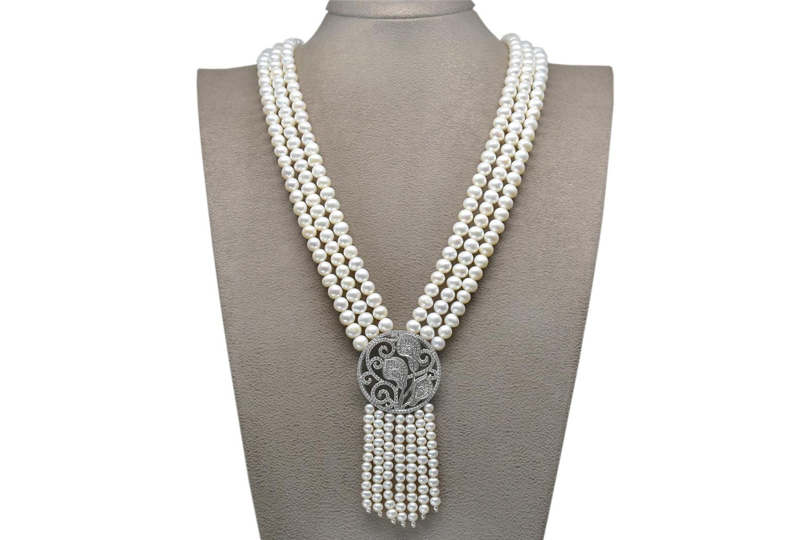 Ahsen 925K Gümüş Broşlu 3 Sıralı Doğal Beyaz inci Kolye AH-00088