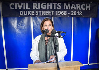 Mary Lou McDonald addressing the march on Shipquay Street