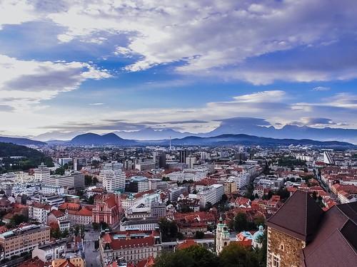 Evening view from Ljubljana Castle, Slovenia
