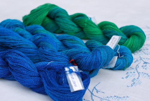 Handspun merino silk zephyr by irieknit on spindles gradient dyed by Sheepy Time Knits