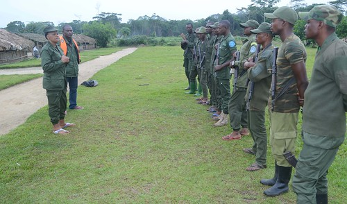Head warden Chantal and assistant Didier address guards in Bangaliwa
