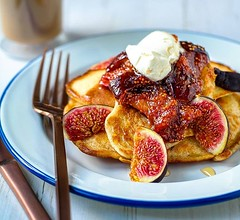 "#Pancakes with #fig and honey compote, topped with a dollop of #mascarpone - proudly #homemade :grin: My oddly shaped pancakes are a little ""rustic"" looking but they are yummy! . #Recipe suggestion: Add a sprinkle of black pepper to the compote to give it"