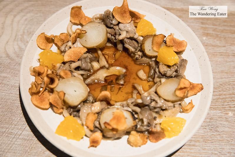 Sunchoke, oyster mushroom, black truffle, orange