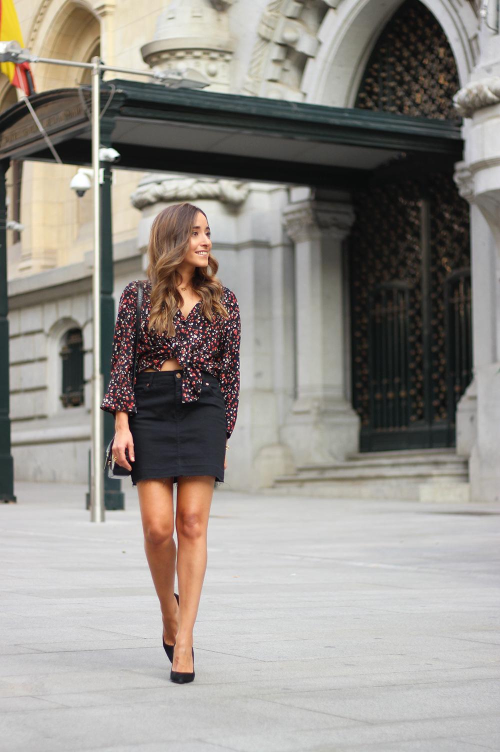 black flower shirt black denim skirt black heels givenchy bag autumn outfit street style 201806