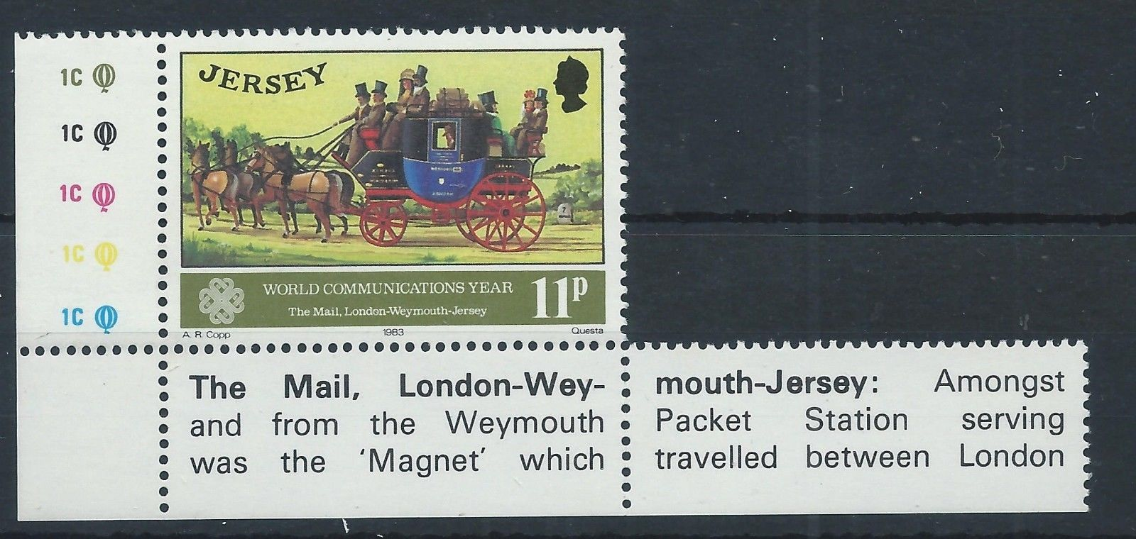 Jersey - Scott #311 (1983) - with partial marginal inscription describing the London-Weymouth-Jersey mail coach service (NIMC2018); image from active eBay auction.