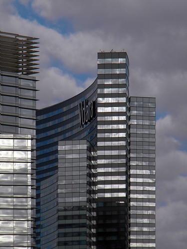 Silvery reflection in a glass high-rise in Las Vegas, Nevada, USA