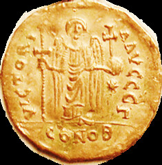 Justinian I Gold Solidus reverse