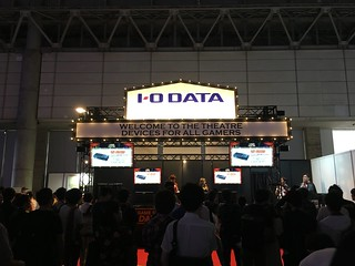 Hatsume takes on challengers at the IO-Data booth