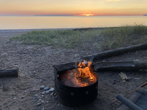 Lake Superior Park Campsite fire and sunset