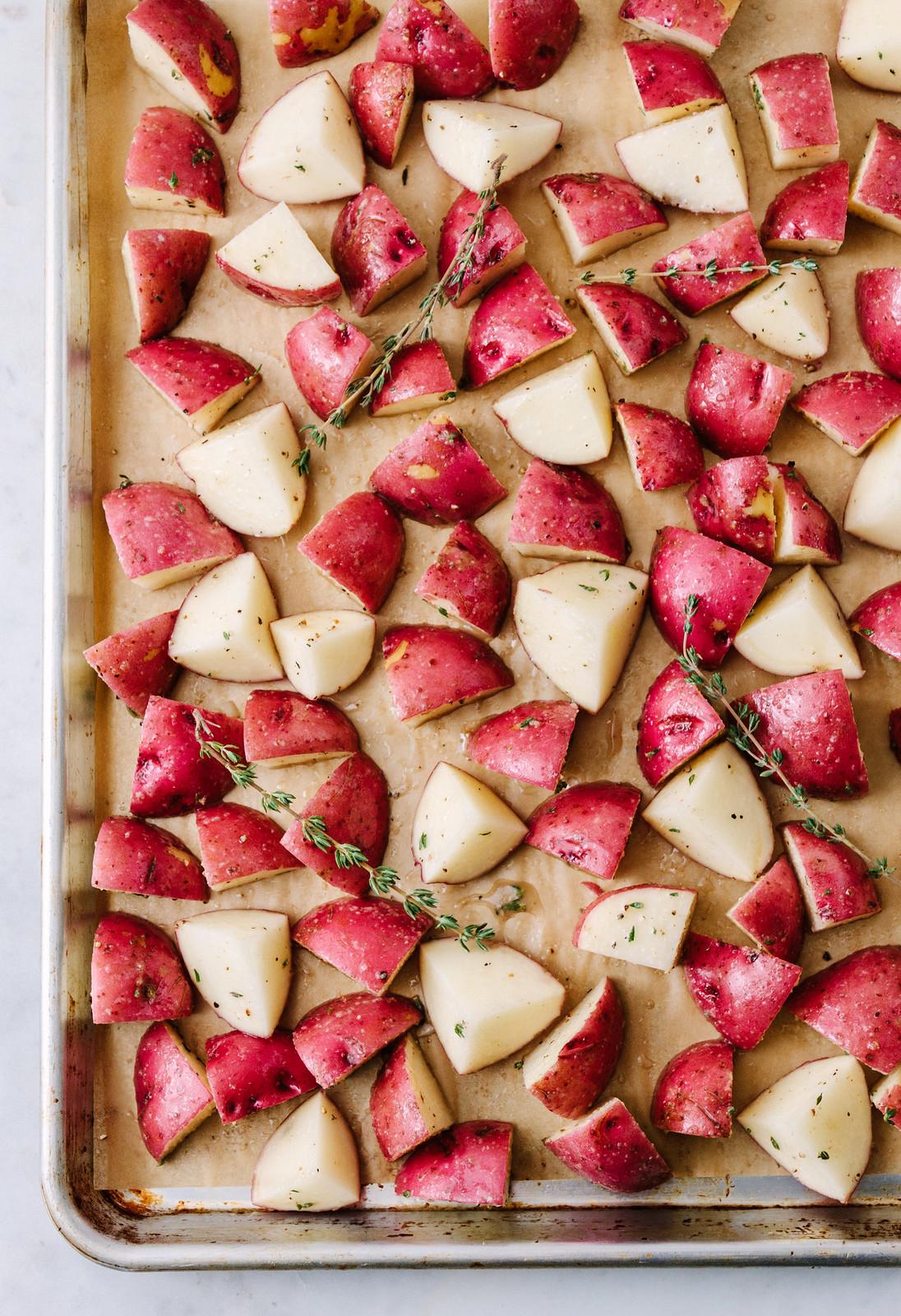 Roasted Red Potatoes on baking sheet