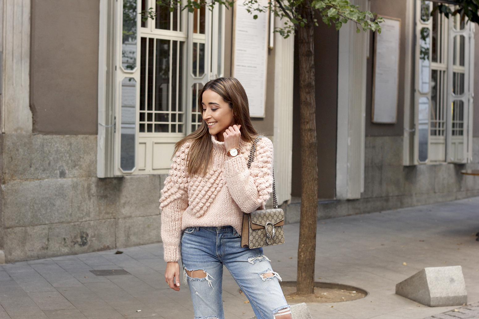 chunky pink sweater ripped jeans white fila sneakers gucci bag street style fall outfit 20184553