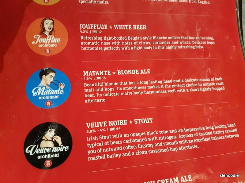 Archibald Microbrasserie beers menu