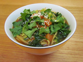 Udon Soup with Broccoli, Kale and Sweet Potato