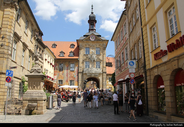 View along Karolinenstrasse towards Altes Rathaus, Bamberg, Germany