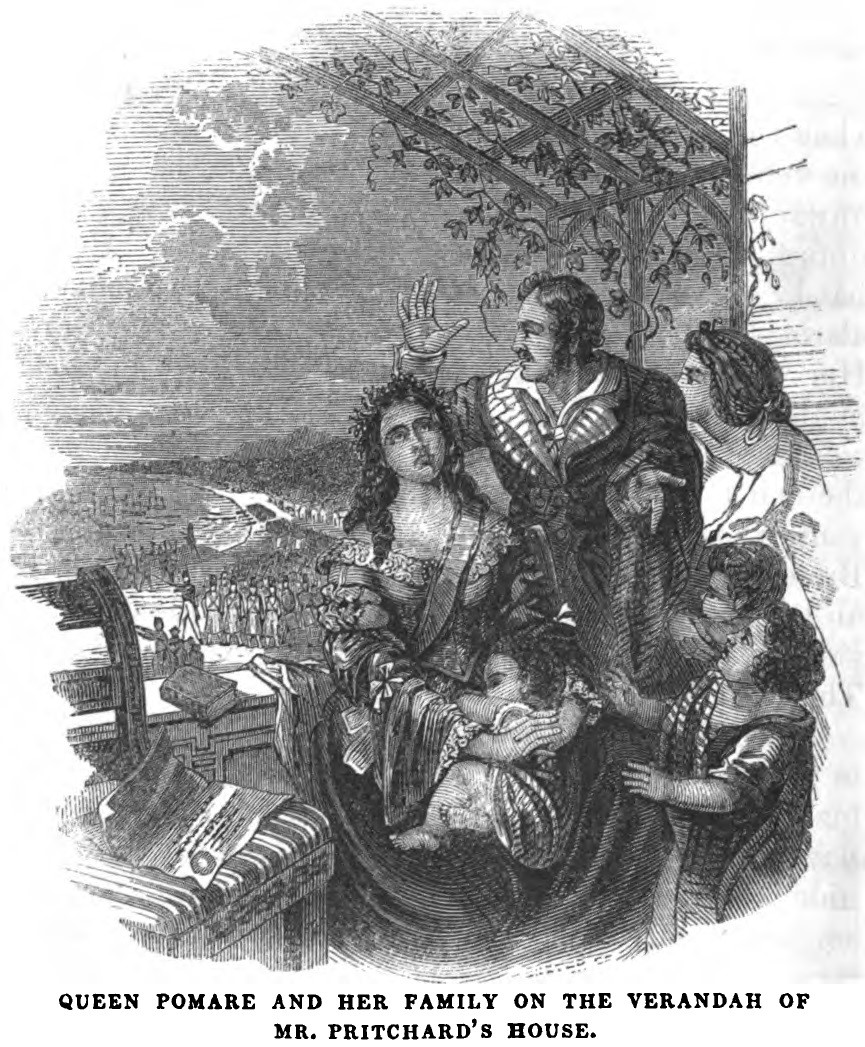 Queen Pomare and her Family on the Verandah of Mr. Pritchard's House, during the French Invasion of Tahiti. From the Missionary Repository for Youth and Sunday School Missionary Magazine, 1847.
