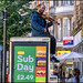 Busker in Granby Street Strangling the cat. Leicester 2018