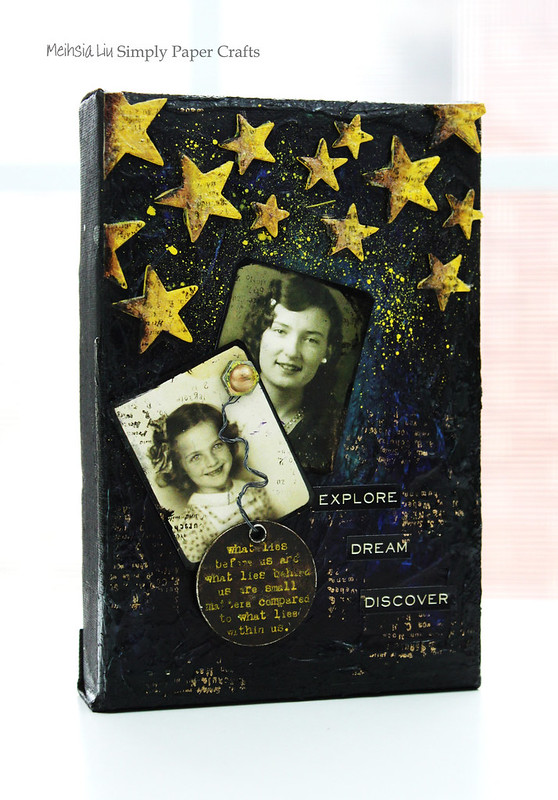 Meihsia Liu Simply Paper Crafts Mixed Media Canvas Starry Night Tim Holtz Simon Says Stamp 1