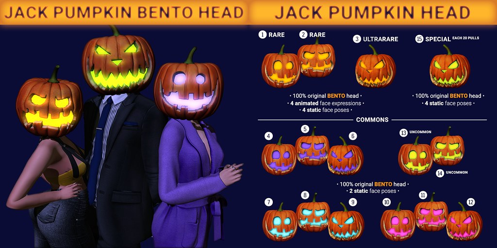 SEmotion x Libellune Jack Pumpkin Bento Head Gacha Set