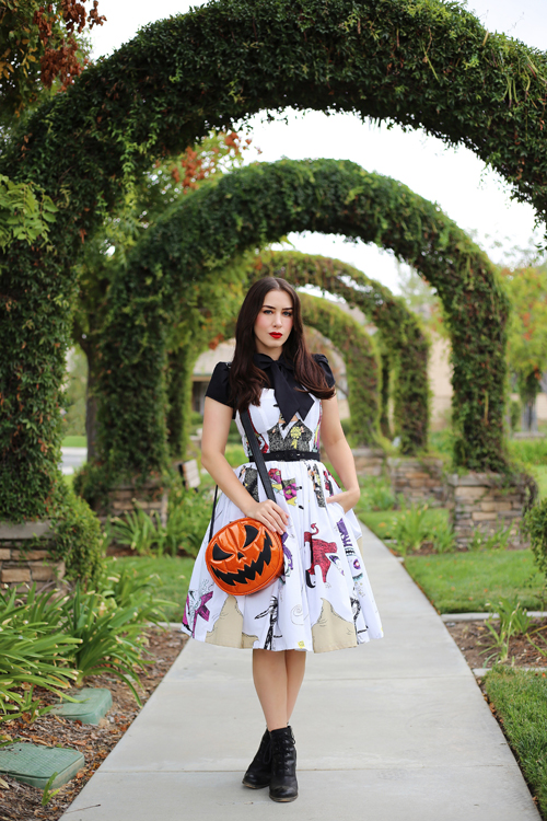 Vintage Inspired by Jackie Nightmare Before Christmas Dress Heart of Haute Estelle Top in Black Love Pain and Stitches Pumpkin Bag