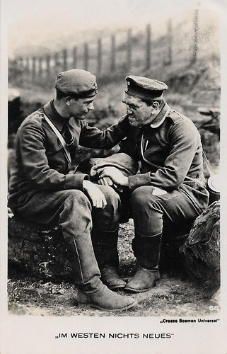 Lew Ayres and Louis Wolheim in All Quiet on the Western Front