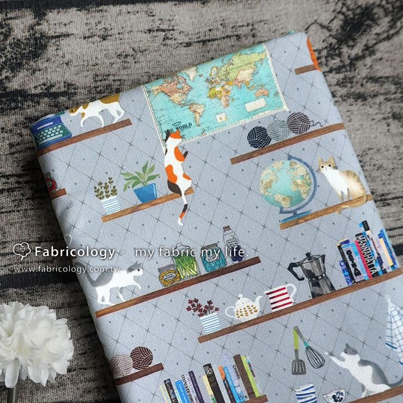 布學盒裝印花布(1y)貓的日常 手工藝DIY布料 SW001809-4