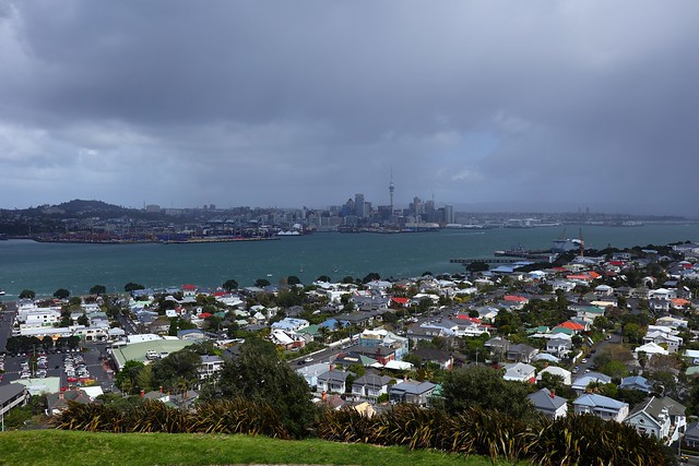 Storm clouds approaching over Auckland Skyline, seen from Mount Victoria Devonport - New Zealand