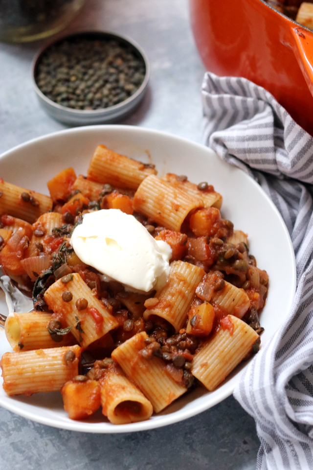 Butternut Squash and Lentil Bolognese with Mascarpone