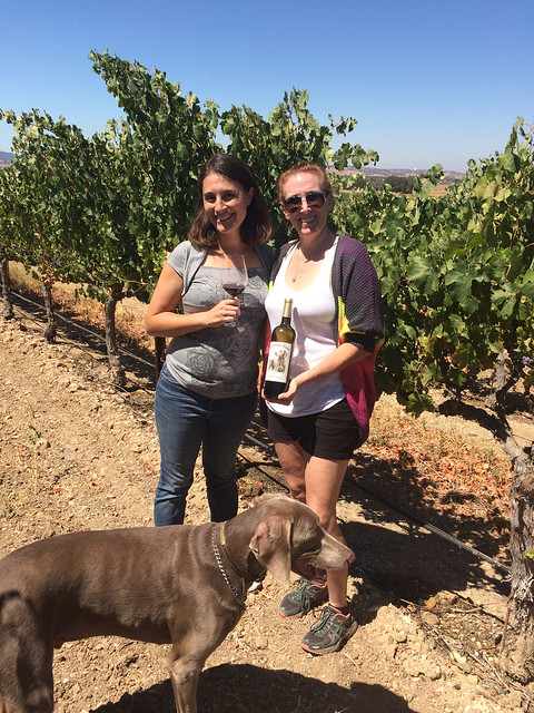 Maria and Lori in Plummer Vineyard, Paso Robles, CA drinking Dracaena Wines