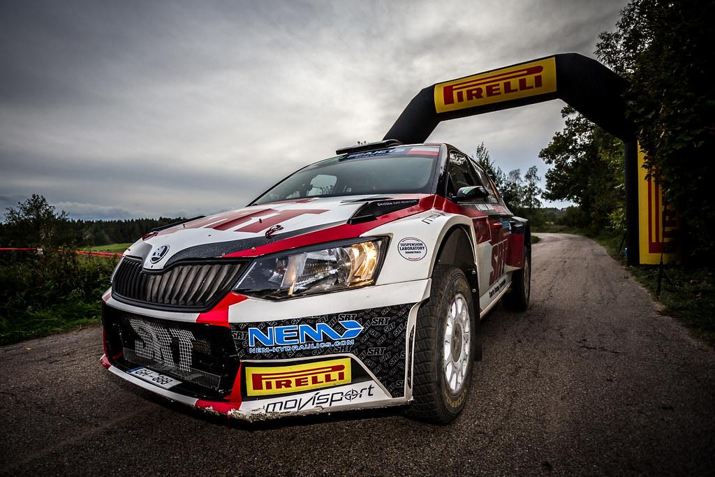 04 GRYAZIN Nikolay (LVA), FEDOROV Yaroslav (RUS), SPORTS RACING TECHNOLOGIES, Skoda Fabia R5, winner during the 2018 European Rally Championship Rally Poland at Mikolajki from September 21 to 23 - Photo Thomas Fenetre / DPPI
