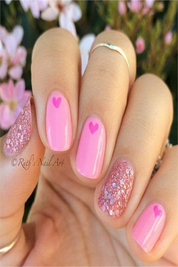 Top 33 Lovely Heart Nail Art Design Trendy Ideas #heart_nails #heart_nail_art #trendy_nail_art_design