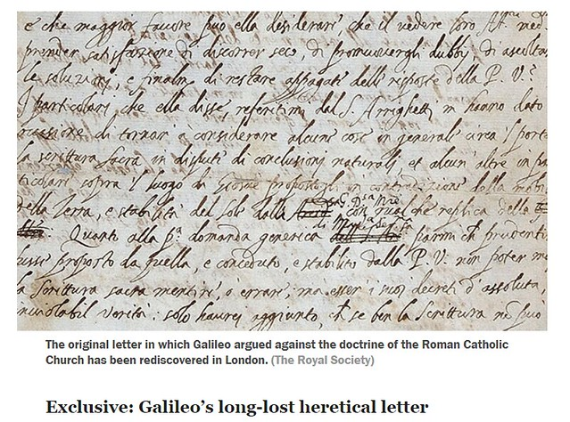 The original letter in which Galileo argued against the doctrine of the Roman Catholic Church has been rediscovered in London. Credit: The Royal Society