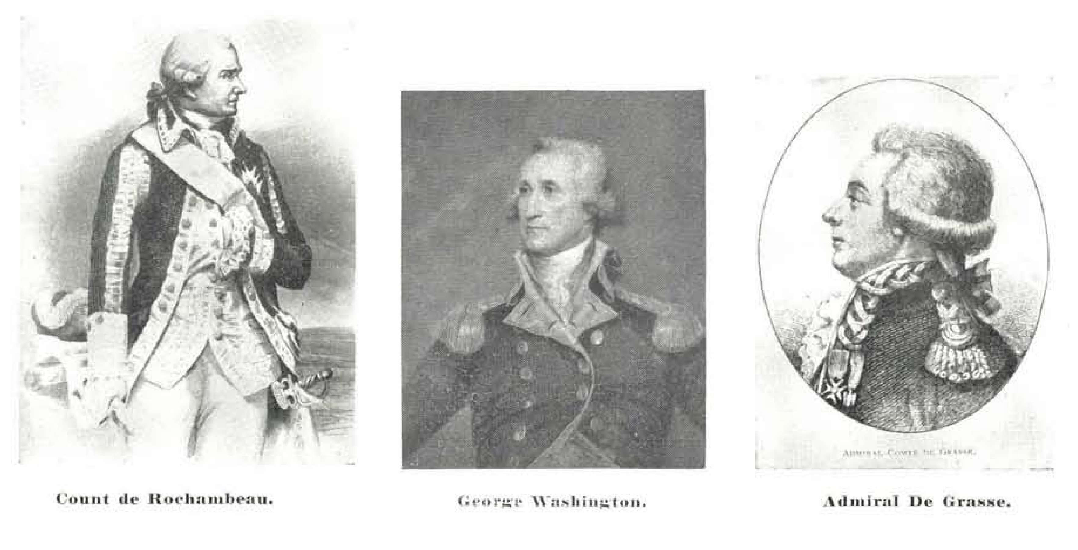 Engravings of the portraits of Count de Rochambeau, George Washington and Admiral de Grasse used in the design of Scott #703.
