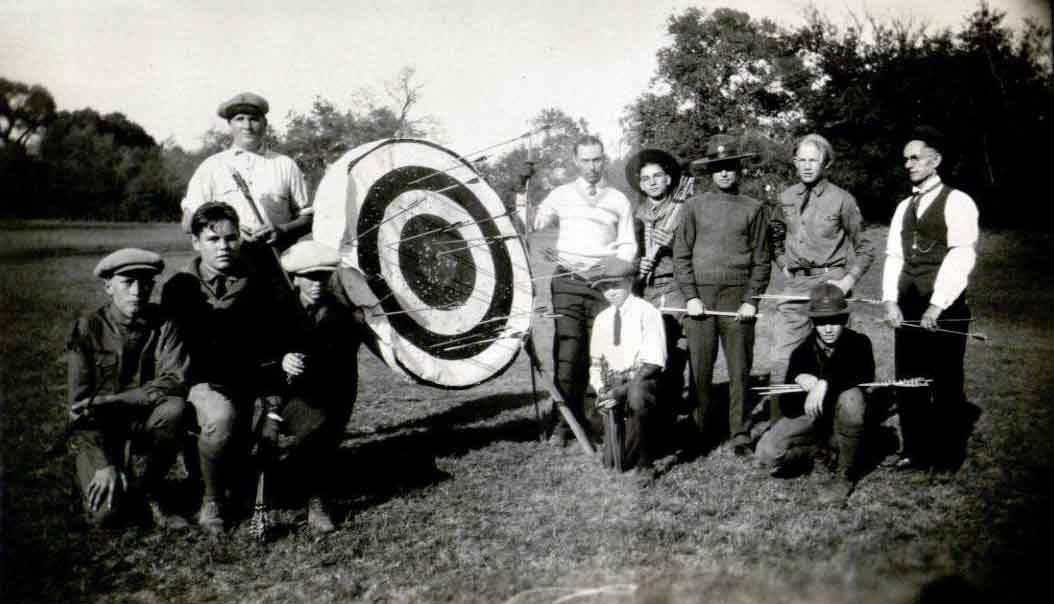 Waco Scouts posing by archery targets, 1926