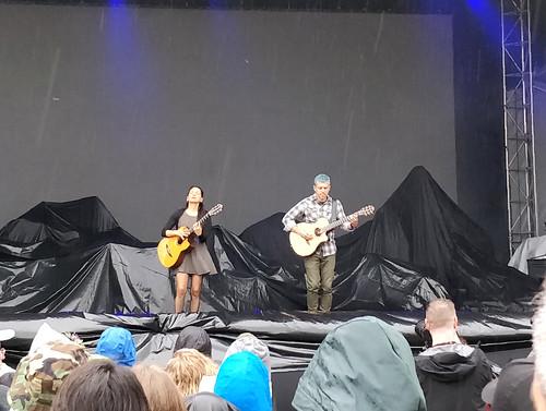 Rodrigo y Gabriela playing in the rain at Skookum