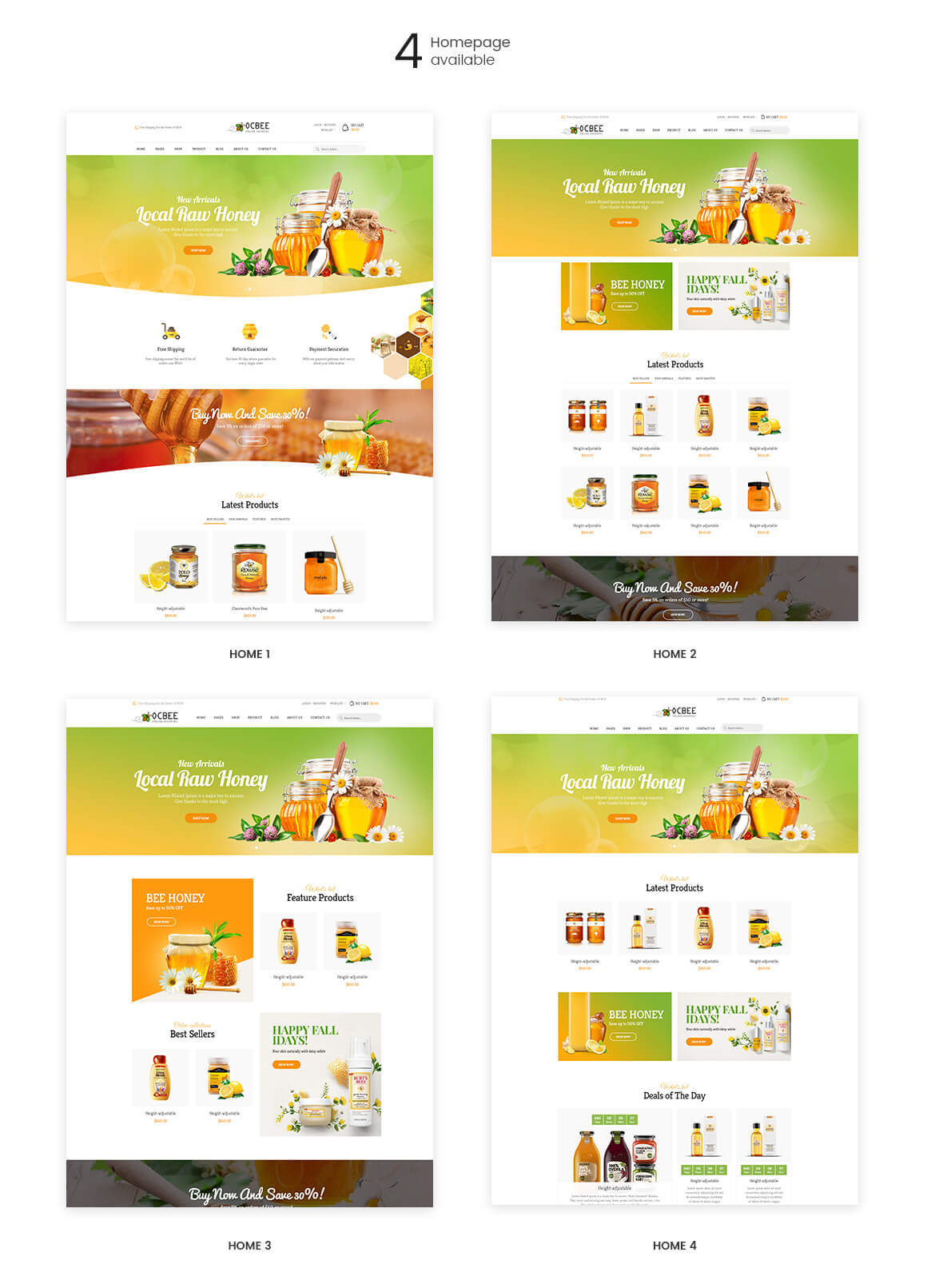 Prestashop 1.7 theme features-Bos Ocbee prestashop theme - honey, food, beauty store