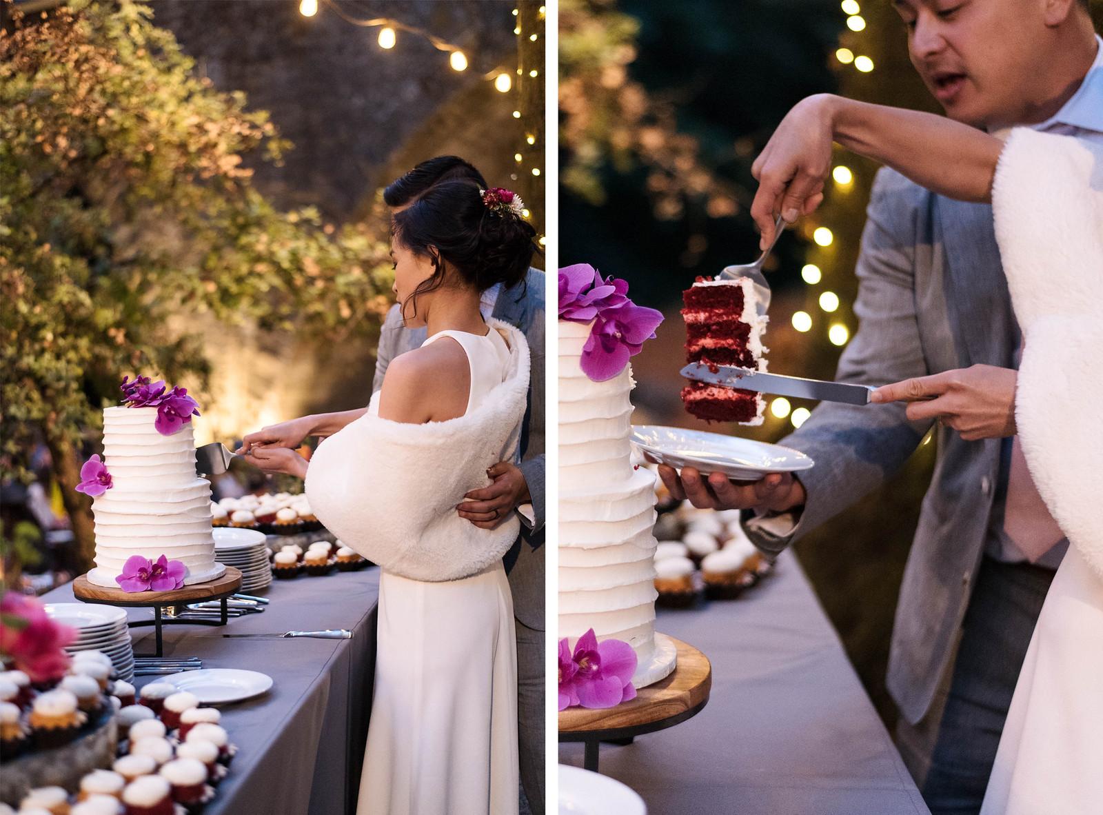california-wedding-red-velvet-cake on juliettelaura.com