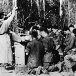 31333809218 U.S. Army Chaplain (Major) Charles J. Watters (1927-1967) conducting a field mass in Vietnam.