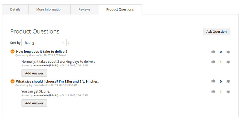 product questions extension for Magento 2