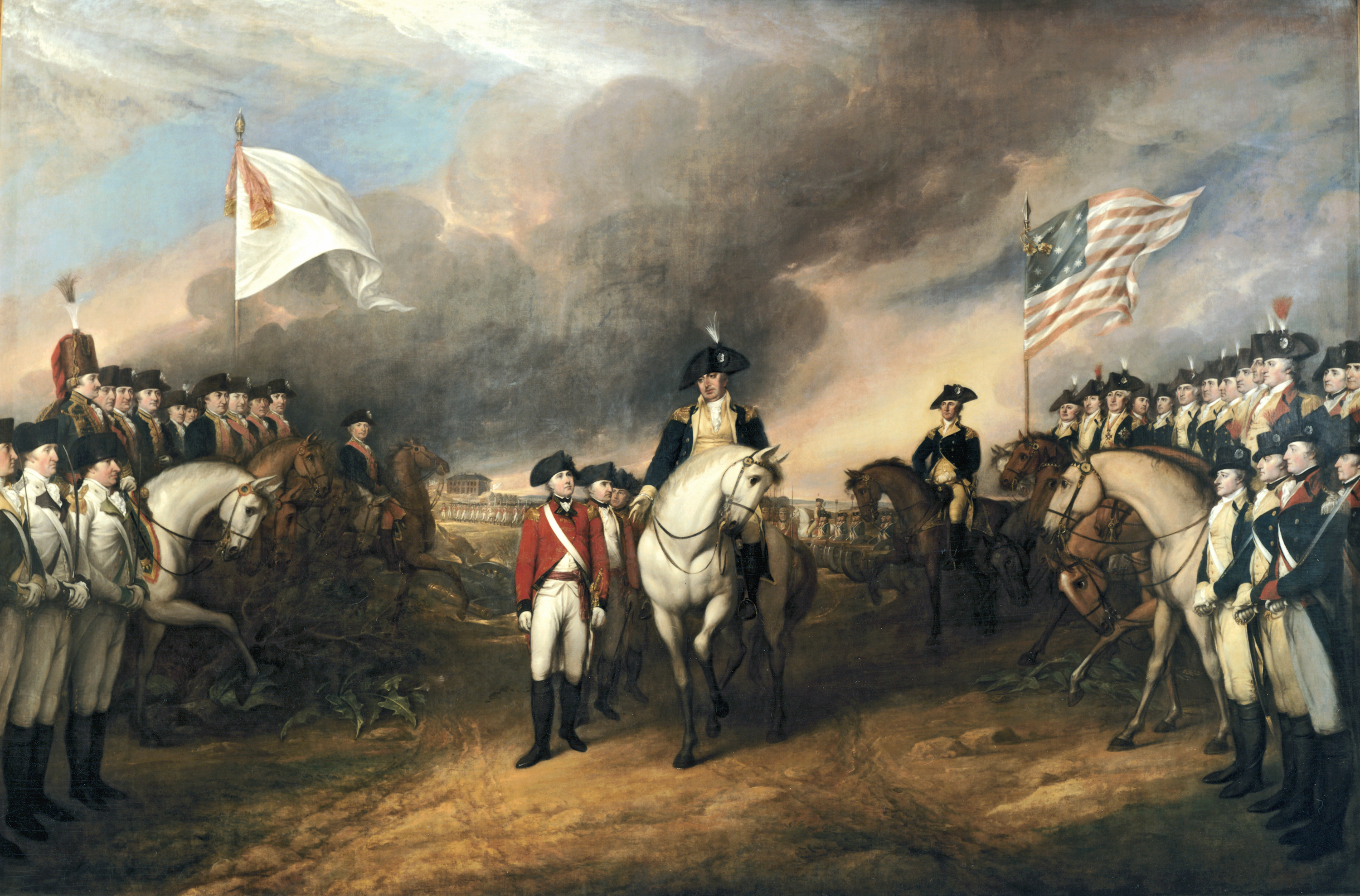 The Surrender of Lord Cornwallis by John Trumbull depicts the forces of British Major General Charles Cornwallis, 1st Marquess Cornwallis (1738–1805) (who was not himself present at the surrender), surrendering to French and American forces after the Siege of Yorktown (September 28 – October 19, 1781) during the American Revolutionary War. The central figures depicted are Generals Charles O'Hara and Benjamin Lincoln. The United States government commissioned Trumbull to paint patriotic paintings, including this piece, for them in 1817, paying for the piece in 1820.