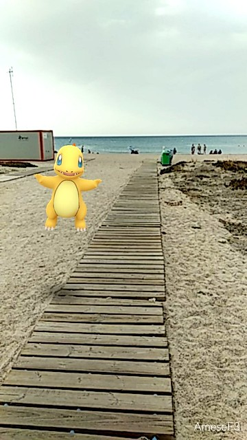 Charmander shiny en la playa