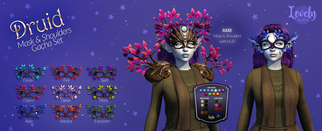 Druid – Mask And Shoulders – Set For: The Gacha Garden