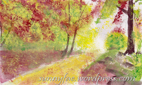 autumn walk Gouache