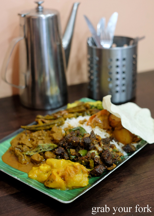 Banana leaf special with goat at Amma's Modern Kitchen in Pendle Hill Sydney