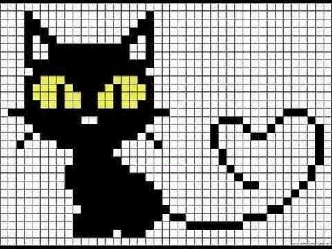 как нарисовать кошку по клеточкам фото