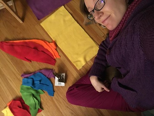 I'm a Rainbow Dash costume-making machine tonight. So much fleece-cutting! So many safety pins!