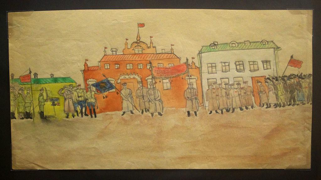 8. Делегация рабочих перед казармами Неизвестный автор. Москва, 1917